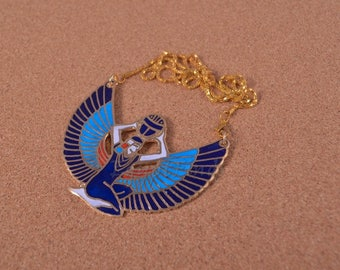 Egyptian Large Brass Blue Enamelled Winged Isis Necklace