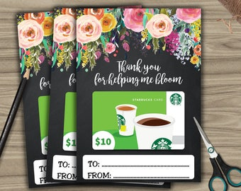 PRINTABLE Teacher Gift Card Holder - INSTANT DOWNLOAD - Thank You For Helping Me Bloom - Chalkboard Style - Teacher Appreciation T013