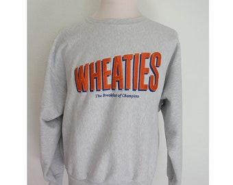 Vintage 90's WHEATIES cereal promo Champion reverse weave heather gray grey pullover jumper crewneck sweatshirt