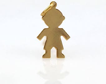 Gold Filled Child Shape Charm DIY Jewelry Making Supplies, Beading Supply Son, Grandson, Boy Shaped Pendant with Loop