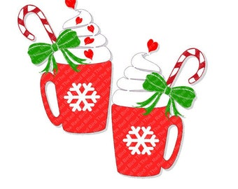 Red Hot Chocolate Christmas Snowflake Heart Mug bundle Cut File PdF, SVG, PNG, EPS, DxF