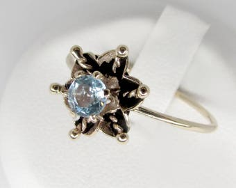 gold aquamarine ring, aquamarine ring, art nouveau ring, antique aquamarine ring, aquamarine engagement ring, aquamarine flower ring,