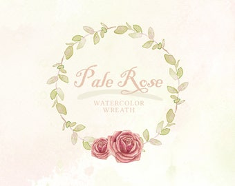 Hand Painted 'Pale Rose' Watercolor flower wreath