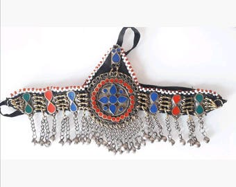 Ethnic antique Afghan TURKMEN 11 headpiece