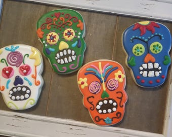 Colorful Day of the Dead Halloween cookies!