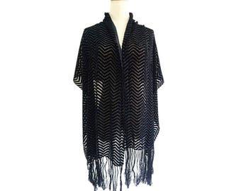 Black SILK VELVET evening tassels wrap.Vintage long velour fabric wrap.Woman's silk velvet lightweight shawl.P75C3