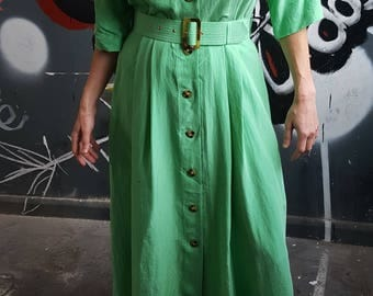 Vintage 80s Betty Barclay Green Silk Belted Shirt Dress Size 14