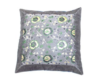 """Indian Pure Silk Cushion Cover Home Floral Decorative Gray Color Size 17x17"""""""