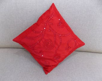 Indian Silk Cushion Cover Home  Embroidery Work Decorative Red Color Size 17x17""