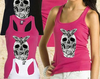 Woman Vest Skull Black White and Pink Colour  Handmade