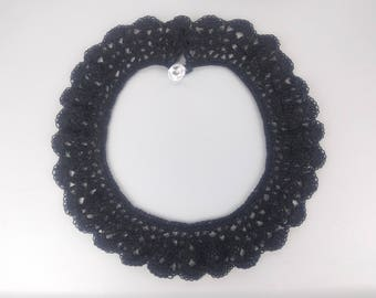 Black cotton lace crochet bib necklace with bling button loop closure