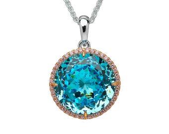 Sparkling Blue Topaz Round Pendant