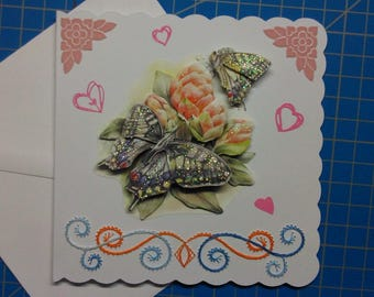 3D 490 hand made and embroidered greeting card