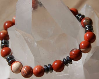 Red Jasper and hematite rondelle Bead Bracelet