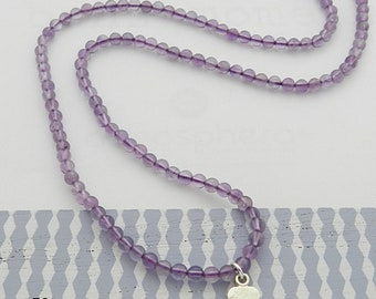 Amethyst necklace silver heart and genuine