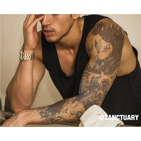 manche tatouage temporaire hommes faux tatouage manches bras. Black Bedroom Furniture Sets. Home Design Ideas