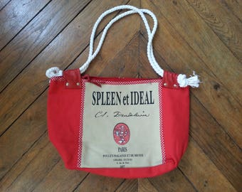 Bookseller bicolored linen canvas bag