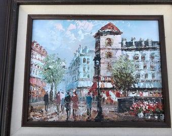 Vintage Oil Painting by Caroline Burnett / Paris Street Life / Urban Europe / Parisian
