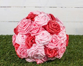 A Lovely Handmade Trio of Pink Satin Ribbon Rose Bridal Bouquet