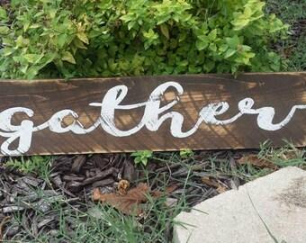 "Gather Rustic Sign 23"" Long Farmhouse Sign Fixer Upper Magnolia Market Style"