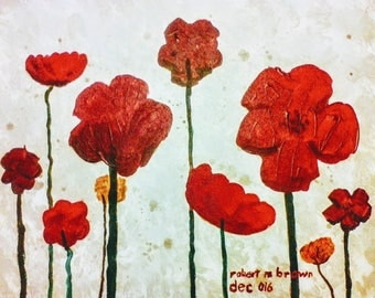 Original Signed, acrylic painting, on canvas, flowers, red, beige, cheerful