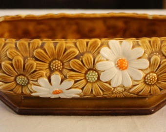 Vintage Inarco Gold and White Daisy Ceramic Planter