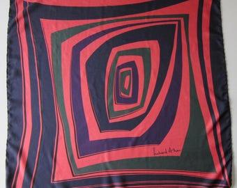 RICHARD ALLAN  Concentric Shapes design vintage 60's silk twill scarf  73 x 71 cm good condition