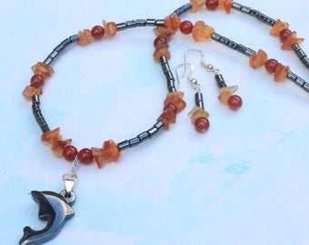 Dolphin Jewellery Set with Hematite and Carnelian. Ocean Jewellery. Necklace and Earring Set for Women. Hematite Gift Ideas. Haematite.