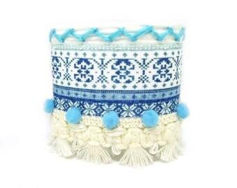 Tribal, ethnic, Bohemian, wide bracelet, bracelet, tassel bracelet Cuff Bracelet