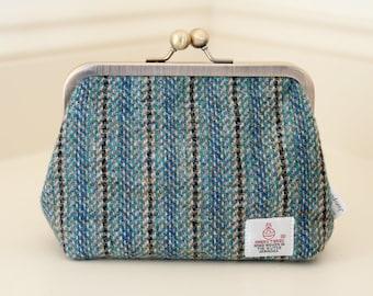 Harris Tweed Clasp purse// Clutch Purse// Fabric Purse //Blue and Green purse