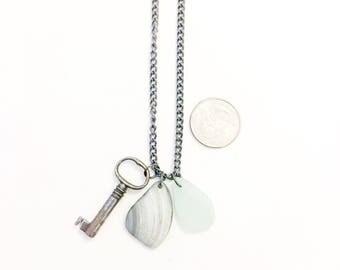 Green Sea Foam Sea Glass Skeleton Key Steampunk Necklace Gray Shell Gunmetal