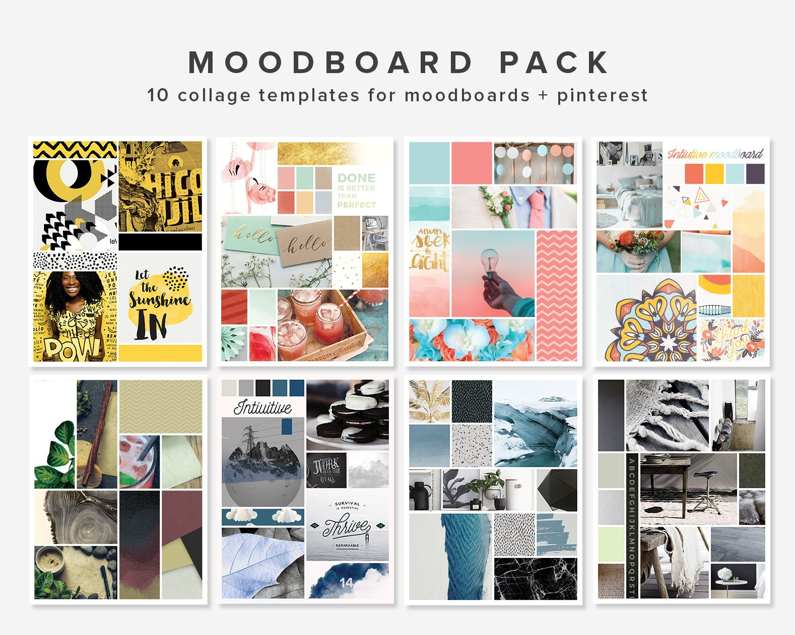 Photoshop Templates: 10 Moodboard Templates Photoshop Templates Blogging