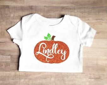 Baby Girl Custom Fall Bodysuit - Baby Girl Pumpkin Outfit - Pumpkin Outfit - Baby Girls Halloween Outfit - Baby GirlMonogram Pumpkin Outfit