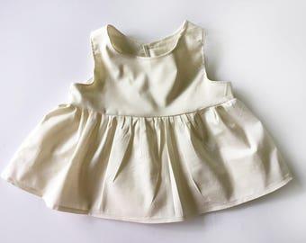 Cream Bloomie Top, cream peplum, peplum top, baby top, baby girl peplum, toddler peplum, natural top, cream baby shirt