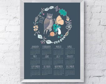 The woodland owl 2018 printable calendar