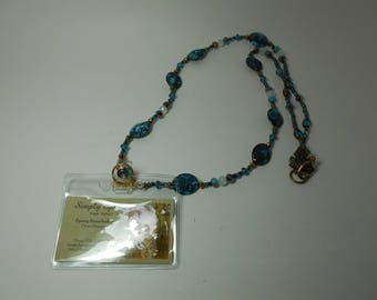 Turquoise and Gold Name Badge Lanyard
