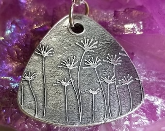 """Silver Floral Pendant & Necklace  - Fine Silver Metal Clay Artisan  Pendant - 18"""" Sterling Silver Loop Chain - Jewelry - Lobster Clasp"""