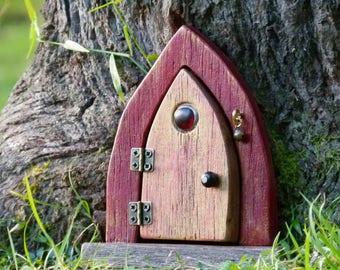 Opening Wooden Fairy Door, Red and Golden Fairy Door with Upcycled Jewellery, Rustic Faerie Door