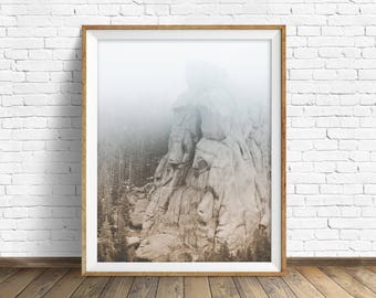 "landscape photography, digital photography, instant download printable art, black and white, large wall art, art prints - ""Monolith No. 3"""