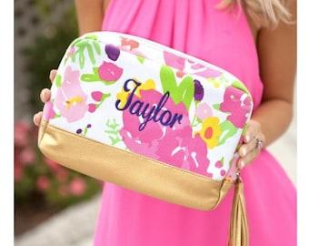Canvas cosmetic bag, monogrammed bag, bridesmaid