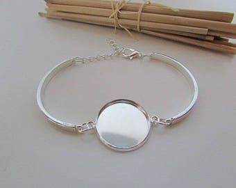Adjustable bracelet silver white with medium cabochon 20 mm - 6 cm - 4.24