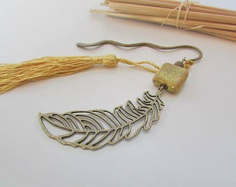 Bookmark bronze autumn leaf and yellow ceramic - tassel - 135