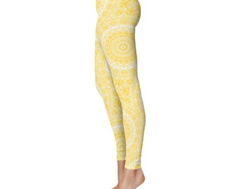 Yellow Leggings - Mustard Yellow Yoga Pants, Patterned Leggings for Women, Mid Rise Fitness Pants