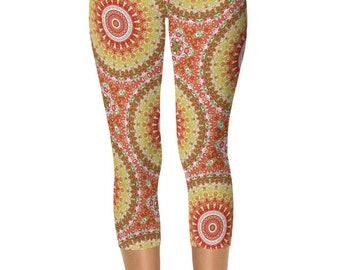 Capri Summer Yoga Pants, Pattern Leggings, Bright Printed Leggings for Spring and Summer