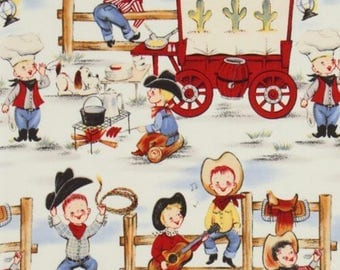 Michael Miller vintage retro style Lil Cowpokes fabric, cowboy fabric, 50's style fabric, novelty fabric, western style, retro
