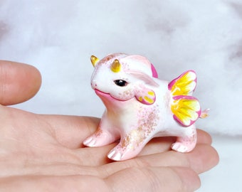 Chubby Pink Dragon Polymer Clay Figurine