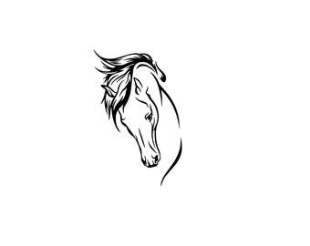 Pretty horse head download, unique animal svg, dxf, eps, ai, png, instant download, running horse head, equine, equestrian file, horse head