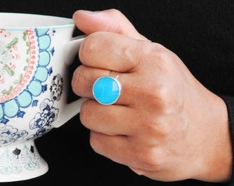 Statement ring bold ring chalcedony ring, blue ring artisan jewelry gemstone jewelry modern ring, Silver jewelry boho gift gift for her
