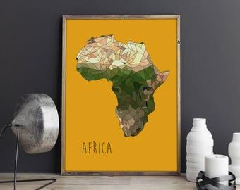 AFRICA - Art Print - FREE Uk SHIPPING - Giclee Print - A3