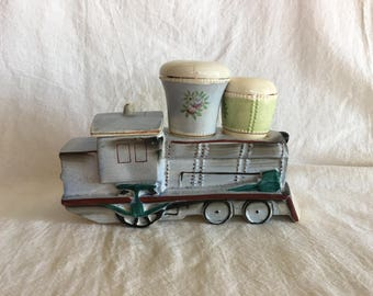 Vintage Train, Locomotive Ceramic Condiment Server, Salt, Pepper Shakers, Sugar Dish, Mid Century Kitchen Decor